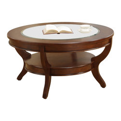Homelegance - Homelegance Avalon Round Cocktail Table with Glass Insert - This clean-lined transitional occasional group takes its roots from the art deco era of the 1930's. The Avalon collection is both straight forward and dramatic. Excitement comes from its simple yet elegant design. Streamlined bowed fronts add movement and the glass insert of the round Cocktail table provides additional drama. Constructed of maple veneer with select hardwood in a contemporary cherry low sheen finish.