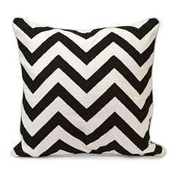 IMAX - Chevron Black and White Embroidered Pillow - - Instill a vibrant energy with this bold, graphic statement pillow in contrasting Black and white chevron pattern.  - (17.5h x 18.0w x 7.0)  - 100% Cotton IMAX - 97145