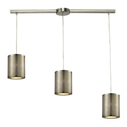 Elk Lighting - Lightgrid Linear 3-Light Chandelier in Satin Nickel - This Mini Pendant Collection features a unique laser cut pattern etched into stainless steel that produces a sleek grid of light.