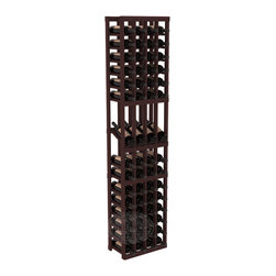 4 Column Display Row Wine Cellar Kit in Redwood with Walnut Stain - Make your best vintage the focal point of your wine cellar. Four of your best bottles are presented at 30° angles on a high-reveal display. Our wine cellar kits are constructed to industry-leading standards. You'll be satisfied with the quality. We guarantee it.