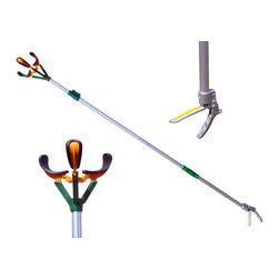 """Zenport - Zenport 10' (304cm) Long Reach Fruit Picker - The Zenport ZL6146B professional telescopic fruit picker also features a soft TPR grip aluminum handle with safety lock and pole that extends to 10-feet allowing you to easily pick and reach fruit. Three """"bruise free"""" soft rubber padded claws keep each piece of fruit safe from damage. Just hold the fruit and twist the harvester making picking fruit easy and fun. Harvest your entire crop without having to get the ladder. Features a 3-position telescopic pole which extends from 70-Inches, 88-Inches, and 112-Inches fully extended. An added bonus feature is for picking up bottles or litter."""