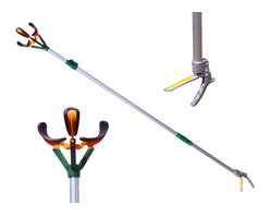 "Zenport - Box of 8 Zenport 10' (304cm) Long Reach Fruit Picker - The Zenport ZL6146B professional telescopic fruit picker also features a soft TPR grip aluminum handle with safety lock and pole that extends to 10-feet allowing you to easily pick and reach fruit. Three ""bruise free"" soft rubber padded claws keep each piece of fruit safe from damage. Just hold the fruit and twist the harvester making picking fruit easy and fun. Harvest your entire crop without having to get the ladder. Features a 3-position telescopic pole which extends from 70-Inches, 88-Inches, and 112-Inches fully extended. An added bonus feature is for picking up bottles or litter."