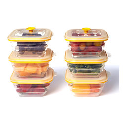 Collapse-It - Collapse-It 2-Cup Rectangle Container - Set of Six - With air-tight lids, this sublime set of silicone storage containers has a solution for keeping any item securely sealed and fully fresh! The collapsible construction saves crucial kitchen space when not in use.   Includes six containers Holds 2 cups 100% silicone Toxin-free Freezer-, oven-, microwave- and dishwasher-safe 2-year warranty Imported