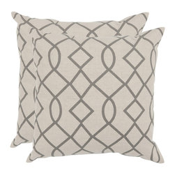 Safavieh - Safavieh Margie 18-inch Grey Feather Decorative Pillows (Set of 2) - Bring a classic design element to your living space with this set of two gray decorative pillows. Each square cotton-blend pillow features a visually pleasing Moroccan-inspired pattern with knife edging and a hidden zipper for a clean look.