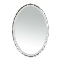 Uttermost Sherise Brushed Nickel Oval Mirror - Beaded metal frame finished in a brushed nickel. This oval mirror features a frame made of hand forged metal with a brushed nickel finish. Mirror is beveled. This mirror may be hung vertical or horizontal.