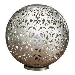 Artemano - Round Metal Lamp With Heart Shape Design - Talk about a work of art.  The heart shaped pattern combined with its sleek, contemporary silhouette creates a stunning accent piece in any space. Skillfully handcrafted out of iron metal, this round table lamp looks great bedside, on an entryway console or as a dining room centerpiece.
