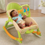 Fisher-Price Newborn-to-Toddler Rocker - You can dream about how much you'd like a vibrating reclining rocking chair but don't be jealous when you give your baby the Fisher-Price Newborn-to-Toddler Rocker. This all-purpose chair grows and changes right along with your baby meaning it's the only seat you'll need for the first few years of your child's life. This chair starts out as an infant seat or rocker with a low-profile frame appropriate for newborns. As your baby develops head control and eye-hand coordination the seat back can be adjusted to a more upright position to allow interactive toy play. With a weight capacity of 40 lbs. this chair can even be used as a rocking chair for your toddler. The flip out kickstands allow the chair to rock or be stationary as desired and the vibrating function calms babies of all ages. Lightweight and easily portable this seat can go from the kitchen to the bathroom to Grandma's house. Additional Features for Baby: Calming vibrations and gentle rocking motion soothe baby Multiple seat angles adapt as your baby grows and develops Batting at overhead toys refines eye-hand coordination Rattles and bright colors engage baby's senses Additional Features for Mom and Dad: Quickly folds flat and has built-in handle for portability Bright animal theme with cute dangling toys Machine washable pad Toy arm swings away for access to baby Safety harness secures baby Battery operated - requires 1 D battery (not included) Weight capacity: 40 lbs. Developmental Guidelines: Use the upright position only when your child has developed enough upper body control to sit without leaning forward. Adaptable for ages from Birth-24 months. About Fisher-PriceAs the most trusted name in quality toys Fisher-Price has been helping to make childhood special for generations of kids. While they're still loved for their classics their employees' talent energy and ideas have helped them keep pace with the interests and needs of today's families. Now they add inno