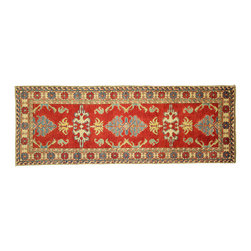 Manhattan Rugs - New Narrow Kazak Runner 2'x6' Hand Knotted Red Wool Rug Shirvan Collection H3721 - Kazak (Kazakh, Kasak, Gazakh, Qazax). The most used spelling today is Qazax but rug people use Kazak so I generally do as well.The areas known as Kazakstan, Chechenya and Shirvan respectively are situated north of Iran and Afghanistan and to the east of the Caspian sea and are all new Soviet republics. These rugs are woven by settled Armenians as well as nomadic Kurds, Georgians, Azerbaijanis and Lurs.  Many of the people of Turkoman origin fled to Pakistan when the Russians invaded Afghanistan and most of the rugs are woven close to Peshawar on the Afghan-Pakistan border.  There are many design influences and consequently a large variety of motifs of various medallions, diamonds, latch-hooked zig-zags and other geometric shapes. However, it is the wonderful colors used with rich reds, blues, yellows and greens which make them stand out from other rugs. The ability of the Caucasian weaver to use dramatic colors and patterns is unequalled in the rug weaving world. Very hard-wearing rugs as well as being very collectable.
