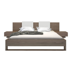 Modloft - Monroe Queen Bed, Walnut - The Monroe platform bed is perfect for creating a look of Zen in your bedroom retreat. Both sleek and warm, the Monroe features an extended wood-finished headboard overlapping two -inchfloating-inch single-drawer nightstands which are seamlessly attached to the bed frame. Flexible wood slats sit inside the bed frame and allow air to circulate beneath the mattress. No box spring necessary. Mattress sits 5-inch inside frame. Includes two L-shape backrest pillows in white eco leather. Platform height measures 14 inches (5 inch inset). Available in California-King, Standard King, and Queen sizes. Available in wenge or walnut wood finishes. Assembly required. Mattress not included. Imported.