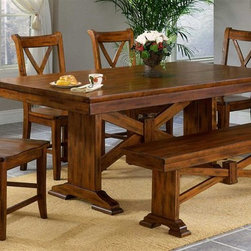 Entree by APA Marketing - Entree Cornwall X Trestle Table Set w 4 Side - This comprehensive, versatile dining set brings casual style and comfort to your design scheme. The hardwood construction and dark rustic finish add rural appeal. The table, bench and 4 side chairs all features X-frame accents. Elegant craftsmanship defines this affordable arrangement. Set includes Table, Bench and 4 Side Chairs. Criss-cross for sturdiness. Informal dining collection but comfortable enough for the whole family. Made of Solid Wood. Rustic Finish. Some Assembly Required. Table: 72 in. W x 40 in. L x 30 in. H (142.5 lbs.). Side chair: 17 in. W x 20 in. L x 40 in. H (24.9 lbs.). Seat Height: 18 in. H. Bench: 60 in. W x 14 in. L x 18 in. H (44 lbs.)The Cornwall Collection derives its inspiration from mountain lodge lifestyles. Subtle curves, cross-beam designs and heavy wood mark this collection with elements of country side and mountain lodge furniture. The collection features a fashionably distressed finish from its rasped edges to its dry brush application, creating a chic 'worn' look and adding a touch of antiquity to each piece. The Cornwall Trestle Table Dining Set includes the trestle table, four Crossback side chairs and an optional trestle bench.
