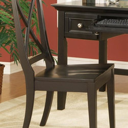 Steve Silver Co. - Oslo X-Back Desk & Dining Chair in Black - X-back chair design. Multi-step Black finish. Contemporary style. Corner block construction. Tongue and groove joints. Select hardwood solids material. Some assembly required. Select hardwood solids material. 22 in. L x 20 in. W x 40 in. H (26 lbs.)