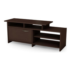 South Shore - TV Stand w Single Cabinet in Chocolate - Step - Manufactured from eco-friendly, EPP-compliant laminated particle boardcarrying the Forest Stewardship Council (FSC) certification. Step One collection. 1 Door cabinet. Total of 4 shelves, 3 are open shelves. Metal handles. Contemporary style. Chocolate finish. Assembly Required. 52 in. W x 16 in. D x 20 in. HThanks to its contemporary styling and sleek and simple lines, the Step One collection coordinates perfectly with virtually any decor. Fully functional and adaptable, the items in the collection will meet all your needs with their practical open and closed storage spaces. They have also been designed with safety in mind, featuring Smart Glide drawer slides and attractive rounded corners.
