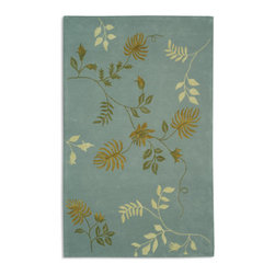 "Grandin Road - Soho Area Rug in Blue - 3'6"" x 5'6"" - Botanically themed accents evoke a soothing tone. Virgin wool and viscose blend is hand-tufted in a sculpted pile. Stitched to a durable cotton backing for added protection. Area rug is incredibly simple to preserve. Our nature-inspired Soho Area Rug in Light Blue brings tranquil design and comfort to any room. This inviting indoor rug from Safavieh features a visually captivating arrangement of fern leaves set against sumptuous blue fibers.. . . . Imported."
