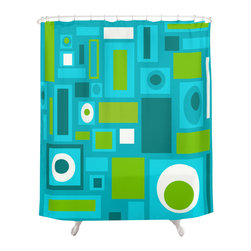 Crash Pad Designs - Renee Pedro Brooklyn Shower Curtain - The fun doesn't have to stop at the bathroom door. Our funky shower curtain will make your bathroom smile.