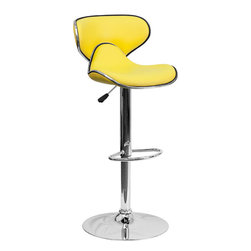 """Flash Furniture - Cozy Mid-Back Yellow Vinyl Adjustable Height Bar Stool with Chrome Base - This may be the most comfortable and attractive stool out there with its ergonomically curved seat and back. The mid-back design will allow you to relax your back. You're sure to receive compliments with this stool in your home. The easy to clean vinyl upholstery is perfect when being used on a regular basis. The dual purpose design performs as a counter height stool or a bar height stool. The height adjustable swivel seat adjusts from counter to bar height with the handle located below the seat. The chrome footrest supports your feet while also providing a contemporary chic design. Counter Height or Bar Stool; Yellow Vinyl Upholstery; Curved Seat and Back; Swivel Seat; Height Adjustable Seat with Gas Lift; Foot Rest; Chrome Base; Base Diameter: 17.625""""; CA117 Fire Retardant Foam; Designed for Residential Use; Overall dimensions: 17.5""""W x 17.5""""D x 34.5"""" - 43""""H"""