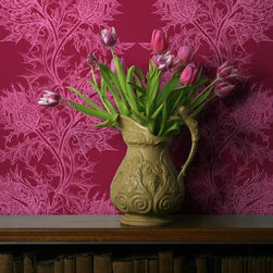 Thistle Wallpaper, Pink/Red - How beautifully unique is this thistle wallpaper? Its illustrative qualities are romantic, and the bold pink and red colorway is absolutely stunning.