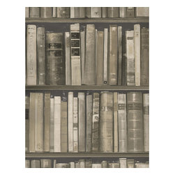 Kathy Kuo Home - Wall Of Books Library Wallpaper - Stone - Flaunt your bookish side with this whimsical wall covering. Available in your choice of muted colors, the coated paper if perfect for an accent wall in your well-read world.