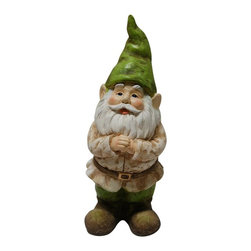 Alpine - Gnome Folding Hands Looking Up Garden Statue - Add color, spice and life to your outdoors with these fiberglass gnome statuaries. Each has its own playful personality and is sure to bring a fanciful feel to any yard, garden or deck. These sturdy statuaries boast earth hues of green and beige.Features: