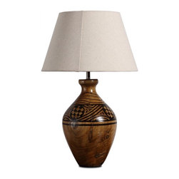 ParrotUncle - Handmade Wooden Carved Pot Table Lamp With Bell Shade - Traditional silhouettes adapt to today's proportions and performance for gracious versatility. Rustic table lamps