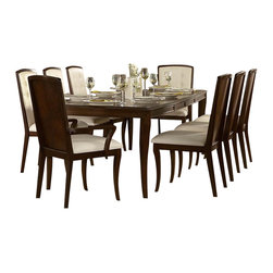 Homelegance - Homelegance Abramo 10-Piece Rectangular Dining Room Set in Walnut - Retro-contemporary design takes an exotic twist in the Abramo collection. Sapele veneers lend to the unique high and low-lights that flow over each piece of this modern dining offering. Exuding sophistication with each curve of the bow-fronted china and server, nickel hardware shines as the ultimate design punctuation. Solid back chairs feature book-match Sapele veneers and white bonded leather seating _ front of seat backs feature button tufting. Door and drawer storage adds to the functionality of the collection, providing the extra space you need for your tabletop decor.
