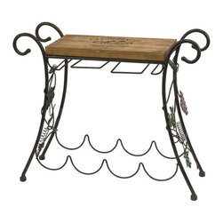 """IMAX - Napa Side Table - Store your favorite wine and glasses nearby with the Napa side table, elegantly adorned with grape accents and an emblem stamped wood top. Item Dimensions: (20.5""""h x 24""""w x 7.75"""")"""