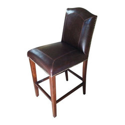 Used Sharon Bar Stool from GrassRoots - This high quality dark brown bicast leather bar stool is a winner.  New in box.  We have six available, please contact Support to purchase more than one.