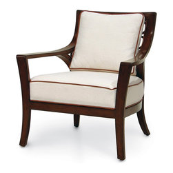 Palecek Georgio Lounge Chair - Plantation hardwood frame with curved hardwood arms and legs in a dark brown finish. Interlocking curved pole rattan design on back in medium brown. Accented with leather bindings. Price is for Grade A fabric and may not be as shown.