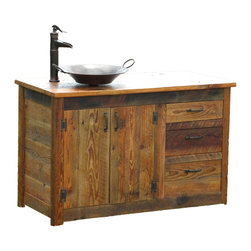 The Rusted Nail LLC - Bathroom Vanity, Right Sided - Create a rustic look in your bathroom with this vanity, handcrafted from reclaimed wood, salvaged from historic barns and buildings in Northern Georgia. The sink sits atop weathered wood, making you feel like you've gone back in time, but the convenient cupboard under the sink and three gliding drawers remind you that this vanity has all the conveniences of the modern age.