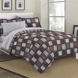 None - Dillon 7-piece Bed in a Bag with Sheet Set - The comforter set features a geometric grid on a grey ground and reverses to a multicolored stripe pattern. With geometric shapes,this Dillon 7-piece bed comes conveniently in a bag.