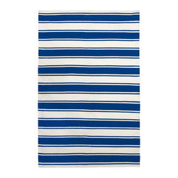 Fab Habitat - Lucky Indoor Cotton Rug, Turkish Sea & Bright White, 6x9 - Just blue it! This bold, jaunty rug has a slightly nautical vibe. Hand-woven from 100 percent recycled cotton, it'll add buoyant flair to any casual corner of your home.