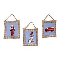 Sweet Jojo Designs - Firetruck Wall Decor - The Firetruck Wall Decor by Jojo Design include 3 wall hangings that will add a designers touch to any childs room! These childrens wall hangings are handcrafted with care and will brighten any childs room or nursery.