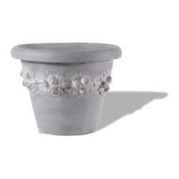 Amedeo Design, LLC - USA - Contemporary Fruit Pot - The Contemporary Fruit Planter is a unique design of modern rolled rim with garlands of fruit, this is an ornate addition to any garden. Though they look like ancient European & Mediterranean designs in carved stone, our products are made of lightweight weatherproof ResinStone. So authentic, you actually have to lift these planters to convince yourself they're not stone at all! Made in USA.