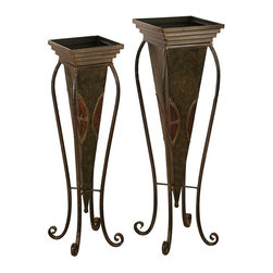 Aspire - Tall Floor Planters - Set of 2 - Add a touch of style to your indoors or outdoors with this set of tall metal planters. Use them to display tall foliage. These tall planters are especially great for any space outside the house such as a balcony or verandah. Metal. Color/Finish: Dark brown, green. 30 in. H x 9 in. W x 9 in. D. 28 in. H x 8 in. W x 8 in. D. Weight: 7 lbs.