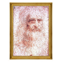 """Leonardo Da Vinci-16""""x24"""" Framed Canvas - 16"""" x 24"""" Leonardo Da Vinci Self Portrait framed premium canvas print reproduced to meet museum quality standards. Our museum quality canvas prints are produced using high-precision print technology for a more accurate reproduction printed on high quality canvas with fade-resistant, archival inks. Our progressive business model allows us to offer works of art to you at the best wholesale pricing, significantly less than art gallery prices, affordable to all. This artwork is hand stretched onto wooden stretcher bars, then mounted into our 3"""" wide gold finish frame with black panel by one of our expert framers. Our framed canvas print comes with hardware, ready to hang on your wall.  We present a comprehensive collection of exceptional canvas art reproductions by Leonardo Da Vinci."""