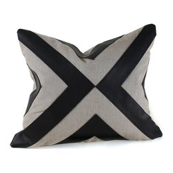 Pfeifer Studio - Contemporary Leather and Linen Pillow - The juxtaposition of leather and linen in this pillow marries the ultimate in opposites. Light and dark lines converge to highlight a soft study in contrasts. This is a great way to add drama and luxury to your couch or chair.