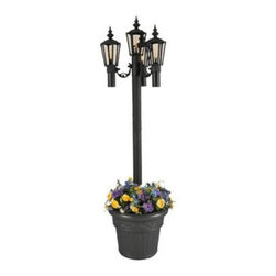 Newport Planter Torch - With the classic look of a vintage streetlamp the Park Style Planter Lantern will add an elegant ambience to your surroundings. Four multi-paneled light housings offer elegant illumination. Weatherproof high/low power switch provides two levels of light for maximum ambiance. Aluminum construction and powder coat finish make this traditional style lamp durable and attractive. A planter base offers ample room for flowers creating a decorative and stable base. Bring the feel of a big city park into your own backyard with this beautiful lantern.