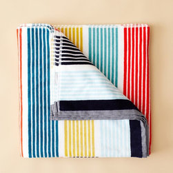 Bowden Beach Towel - Throw an instant beach picnic with a colorful oversize towel and deli sandwiches. This towel from West Elm is one of my favorites.