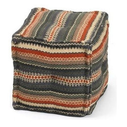 """Go Home Ltd - Square Chauncey Ottoman by Go Home - Like your favorite sweater, with rows of zigzags and colors, the Square Chauncey Ottoman by Go Home has that homemade stitched appeal. The center of each side is tacked enhancing the over stuffed look. A must have when it's time to relax. (GH) 16"""" square"""