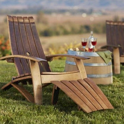 """Viva Terra - Wine Barrel Adirondack Chair and Footstool - Our chair's staves curve where you do to form a supremely comfortable seat.  Made form reclaimed white oak and galvanized metalwork.  Simple assembly required.  CHAIR APPROX 30""""W x 36"""" D x 36""""H, FOOTSTOOL 18""""W x 22""""D x 14""""H"""