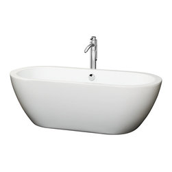 Wyndham Collection - Soho 68 inch Soaking Tub in White with Floor Mounted Faucet in Chrome - The Soho Soaking Tub is understatement and elegance in purest form. Organic shapes, simple lines and attractive symmetry showcase the modern design ethic, yet somehow impart a feeling of warmth and luxury. Built to last and always warm to the touch, these beautiful Bathtubs are a perfect place to melt away tension and stress, leaving you refreshed, recharged and renewed.