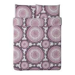 IKEA of Sweden - LYCKOAX Duvet cover and pillowcase(s) - Duvet cover and pillowcase(s), white, lilac