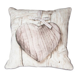 Wooden Heart Decorative Pillow - Add a hint of vintage to your home with this beautiful neutral pillow from the Graham & Brown pillow collection. Elegant and graceful this subtle design in wonderful warm neutrals works within any colour scheme. The warm colour palette enhances the texture of the wood and highlights the beautiful wooden heart. Made from 100% cotton at the beautiful size of 50x50cm and generously filled with polyester hollow fibre this quirky pillow is both plush and cosy. Featuring a complimenting coloured back and colour co-ordinating piping and zip, each cushion in our unique range is finished to perfection.