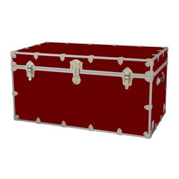 Rhino - Toy Trunk - Wine (Large) - Choose Size: LargeWheels are not included. Includes two nickel plated steel universal wheel adapter plates. Wheel adapter plates mounted on side of the trunk. American craftsmanship. Several obscure ventilation holes to provide plenty of air should your child ever go into the trunk and have someone close it on them. Strong hand-crafted construction using both old world trunk making skills and advanced aviation rivet technology. Steel aircraft rivets are used to ensure durability. Heavy duty proprietary nickel plated steel latches and hardware. Heavy duty nickel plated steel lid hinges plus lid stays for keeping lid propped open. Tight fitting steel tongue and groove lid to base closure to keep out moisture, dirt, insects, odors etc.. Stylish lockable nickel plated steel trunk lock has loop for attaching padlock. Discrete ventilation holes. Special soft-close lid stay. Nylon cordura exterior laminate. Lifetime warranty. Made from 0.38 in. premium grade baltic birch hardwood plywood with nickel-plated steel hardware. Large: 32 in. W x 18 in. D x 14 in. H (29 lbs.). Extra large: 36 in. W x 18 in. D x 18 in. H (36 lbs.). Jumbo: 40 in. W x 22 in. D x 20 in. H (67 lbs.). Super jumbo: 44 in. W x 24 in. D x 22 in. H (69 lbs.)Safety First! A superior quality, heavy-duty toy trunk that¢s designed for a child¢s well-being, yet looks handsome in any room. Toy Trunk is constructed from the highest quality components. This treasure chest incorporates several safety features to insure that it¢s child friendly. Those include small ventilation holes should a child ever decide to climb in and take a nap, as well as specially designed, American made soft-close lid stays. The lid stays keep the lid from slamming shut. In fact, the lid will only close if you push it down. This will keep small hands protected. Also, the toy trunk will not lock on its own. Toy Trunk are conveniently sized and ruggedly built. They¢re strong enough to stand on! Best of all