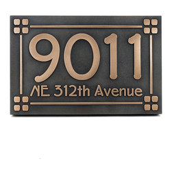 "Frank Lloyd Craftsman Address Plaque 12"" x 8"" in Bronze Patina - Like our Mission Style and Amercian Craftsman Plaque, this one uses the popular Frank Lloyd Wright Eaglefeather Typeface. This font set is based on the alphabet designed by Frank Lloyd Wright for the ""Eaglerock"" project in 1922. Although the project was never built, the lettering has been adapted to become the Eaglefeather® font family. Could it get any more authentic? This might be the address plaque for your Wright inspired home."