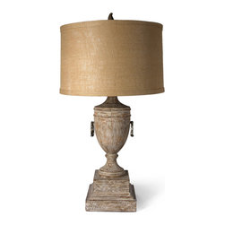 Dover Urn Lamp - The Dover Urn Lamp with its stately architecturally inspired urn sitting atop a formal double pedestal base is sure to add refinement and classical sophistication to any area of your home.  The variegated finish in neutral tones is accented with opposing circular antiqued metal rings and above the urn sits a drum shade whose shape, texture and color somehow seems to make the lamp more appropriate for today's casual lifestyle.