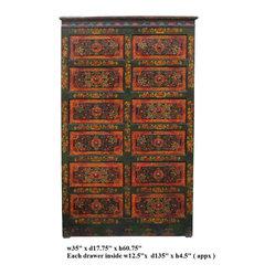 Vintage Tibetan Lotus Flower Graphic Dresser Drawer Cabinet - This is a twelve drawers cabinet ...