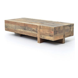 "Angora Reclaimed Wood Block Rustic Coffee Table 68"" -"