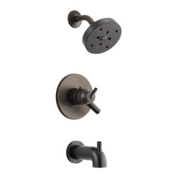 Delta - Delta T17459-RB Trinsic Series Tub/Shower Trim - The Delta T17459-RB is a Trinsic Series Tub/Shower Trim. This shower trim features a Monitor 17 Series Pressure Balanced Bath Mixing Valve, an H2OKinetic shower head, a shower arm and flange, a back-to-back installation capability, a solid brass construction, a lever handle for precise volume control, a pull-up diverter tub spout, a temperature adjustment dial, and a field adjustable hot water zone limit. This trim kit requires an R10000 Series MultiChoice Universal Rough Valve Body, which is sold separately. This model comes in a dramatic, Venetian Bronze finish.