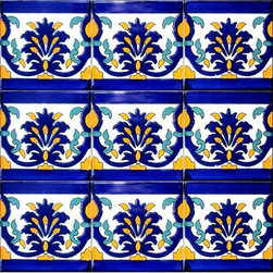 "Hand Painted 4"" x 4"" Decorative Ceramic Tiles - Beautiful hand painted decorative ceramic tile. Khaddouja Design. Ceramic tiles are sold by the square foot, 9 tiles per square foot is 1 order. Tile size is 4 inch x 4 inch x 0.25 inch thick. Hand painted in Tunisia, a southern Mediterranean country. Tiles are fired twice between 500-600 degrees in a ceramic oven. Ceramic tiles are very colorful with a glossy finish. Easy set up and Heavy duty. For indoor and outdoor use. Ceramic tiles are scratch resistant, also water and fade resistant. Contact Seller for large order discounts and Custom tile work. Ref; CCP051"