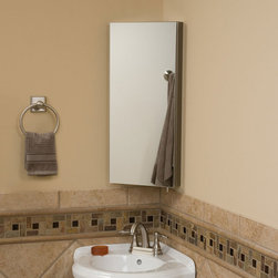 Crosstown Stainless Steel Corner Medicine Cabinet with Mirror - The Crosstown Stainless Steel Corner Medicine Cabinet with Mirror is a space-saving cabinet that features two inner shelves for ample storage.